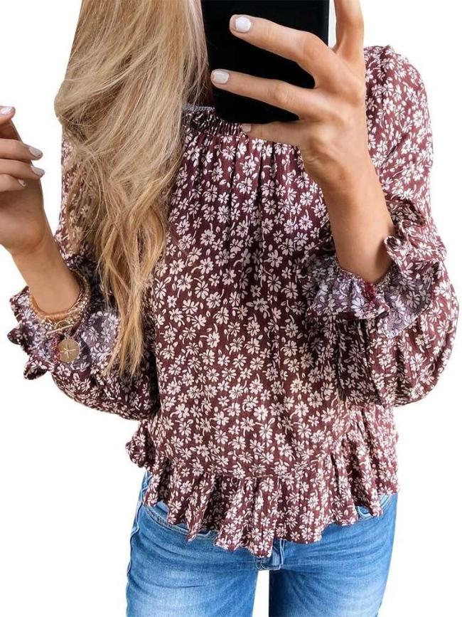Fashion Casual Print High collar Long sleeve Falbala Blouses