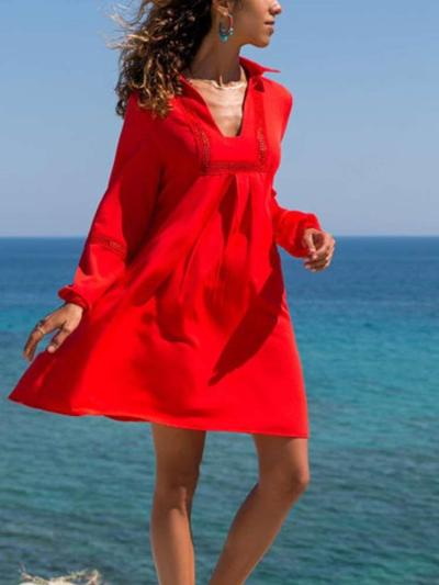 Casual Pure V neck Long sleeve Shift Dresses