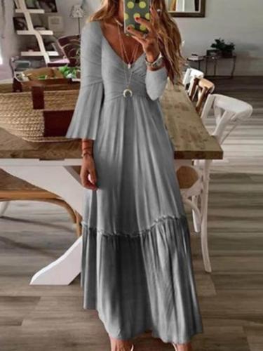 Sexy V neck high waist slim long sleeve maxi dresses