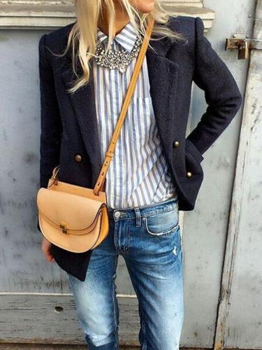 Turn down collar long sleeve jacket coats