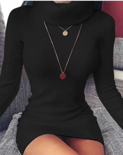 Casual High collar Pure Long sleeve Sweater Shift Dresses