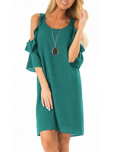 Women Chiffon Fashion Off Shoulder Plain Shift Dresses