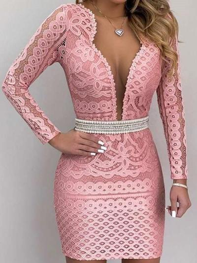 Sexy Lace Pure V neck Hollow Long sleeve Skater Dresses