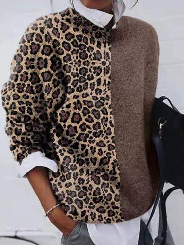 Solid color Mosaic leopard printed sweater casual long sleeve sweaters
