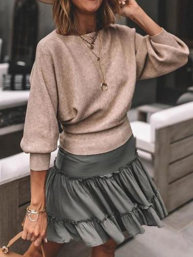 Plain round neck  bat sleeves women knit sweaters