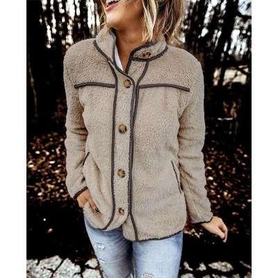 Fashion Plush Stand collar Long sleeve Warm Coats