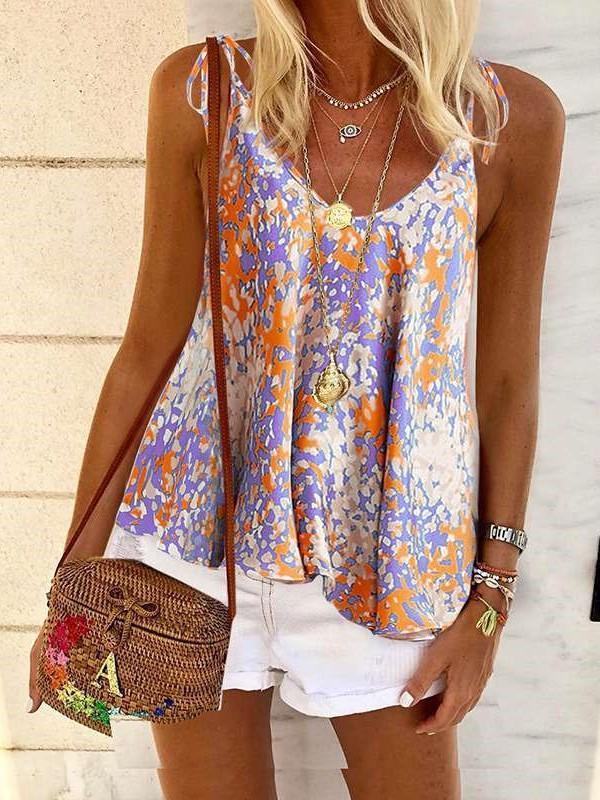 Fashion Print Round neck Vest T-Shirts