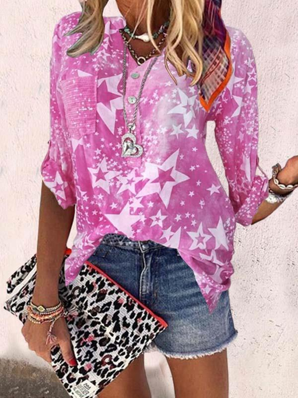 Star printed stand collar woman blouses