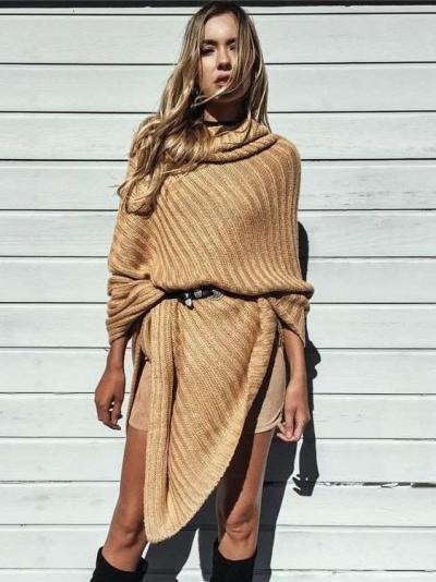 Fashion Heaps Collar Knit  Cloak Sweaters