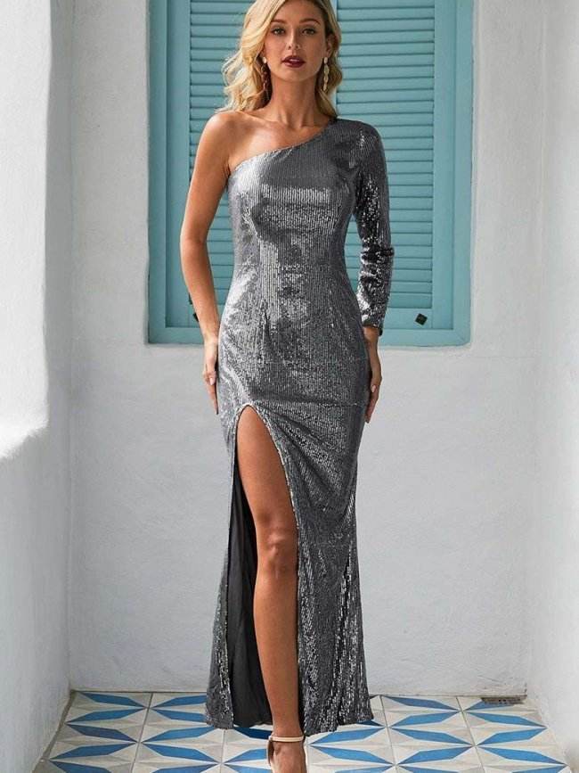 Fashion Elegant Pure  Paillette Evening Dresses
