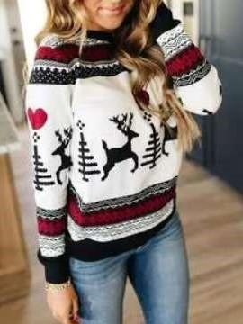 Fashion Christmas print Round neck Long sleeve Knit Sweaters