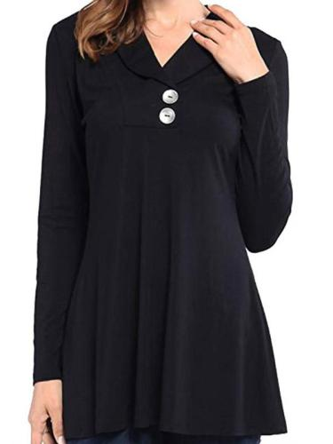Polo Collar Loose Fitting Plain Long Sleeve T-Shirt