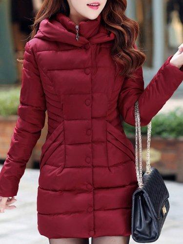 Stand Collar Long Hoodie Coat