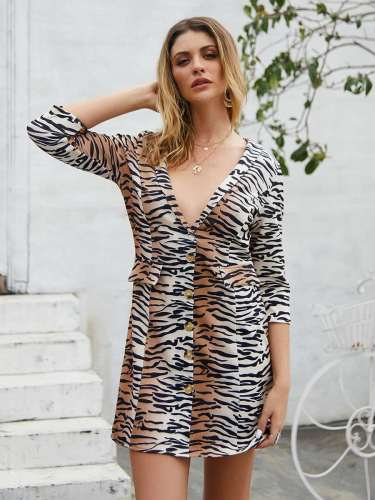 Fashion Stripe Leopard print V neck Shift Dresses