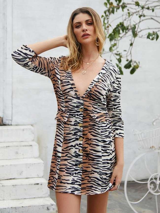 Fashion Stripe Leopard print V neck Shift Dresses