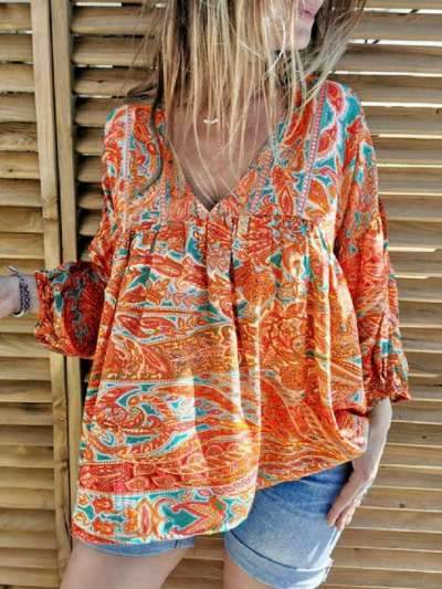 Casual Loose Print V neck Gored Long sleeve Blouses