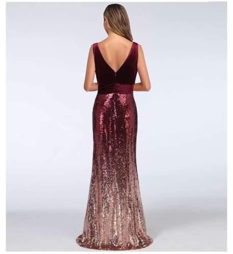 Fashion Velvet V neck Gored Paillette Evening Dresses