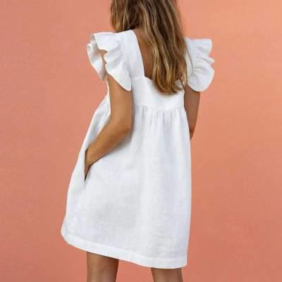 Casual Loose Pure Square collar Falbala Pocket Shift Dresses