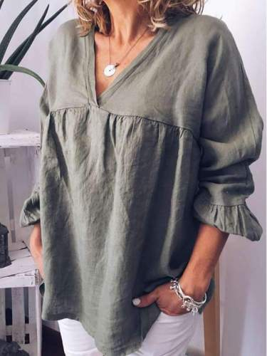 Plain V collar casual women blouses