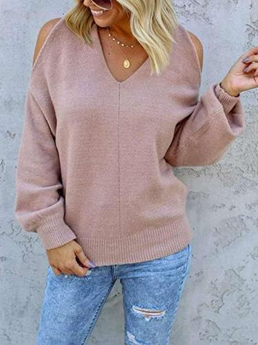 Fashion Casual Pure V neck Off shoulder Long sleeve Sweaters