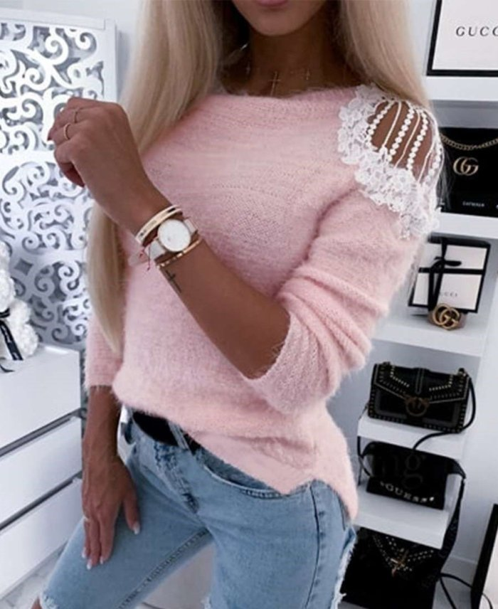 Fashion Plush Knit Off shoulder Lace Long sleeve Sweaters