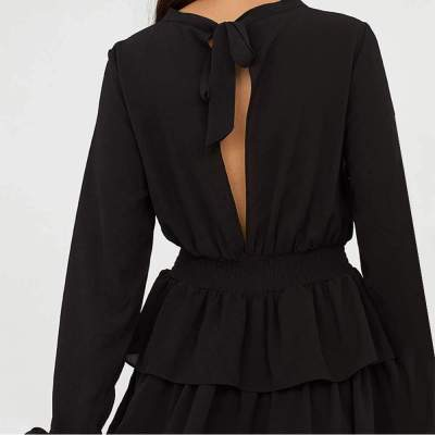 Sexy Pure Backless Falbala Long sleeve Skater Dresses