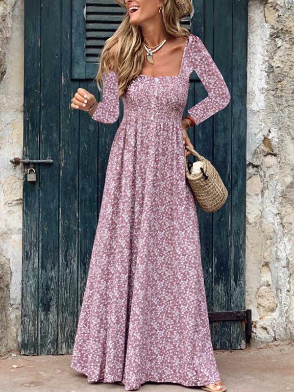 Bohemia floral printed women long sleeve maxi dresses