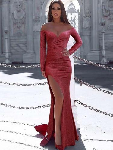 Sexy Off shoulder Vent Bodycon Evening Dresses