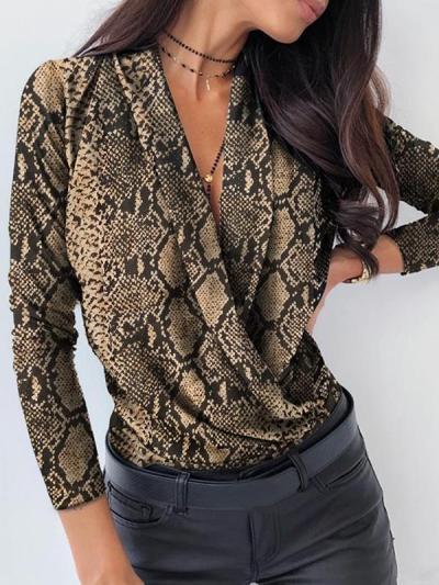 Sexy v neck plain long sleeve Blouses