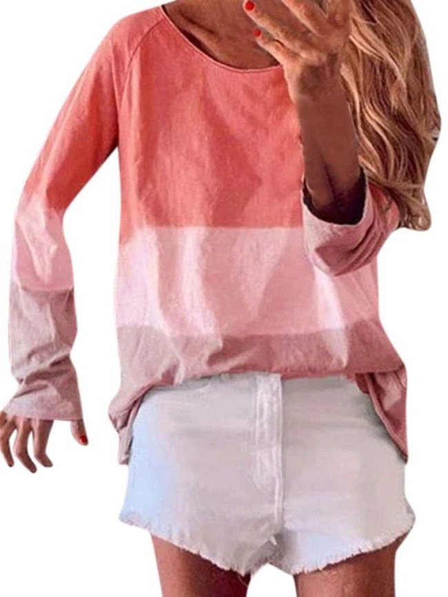 Loose Gradient Round neck Long sleeve T-Shirts