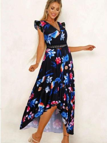 Fashion Print Sleeveless Maxi Dresses
