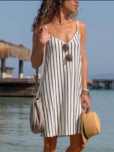 Women Stripe V neck Vest Shift Dresses
