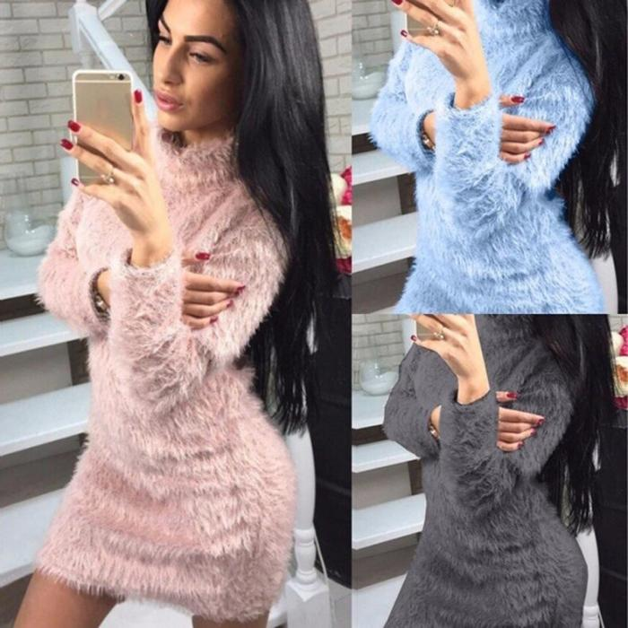 Plush High collar Long sleeve Sweaters