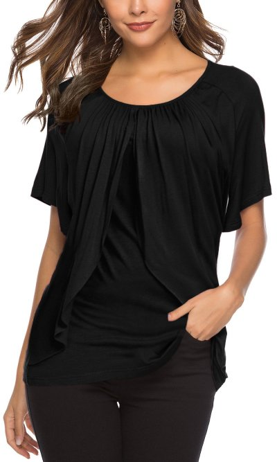 Casual Short sleeve Round neck Loose T-Shirts