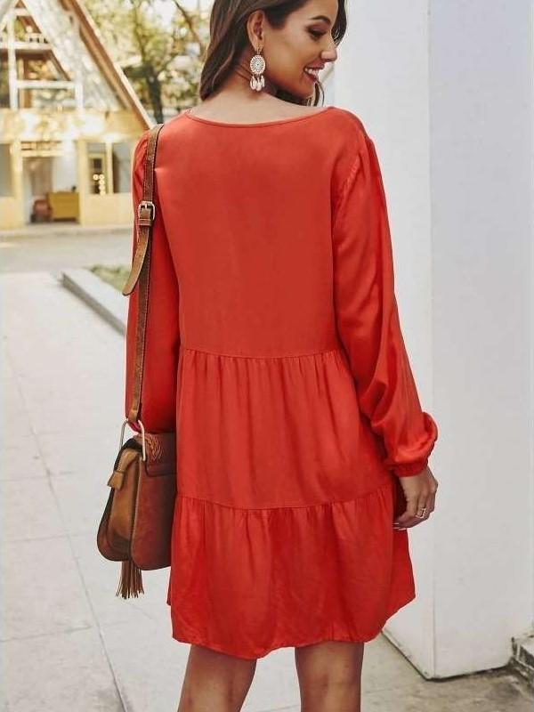 Fashion Casual V neck Long sleeve Fastener Shift Dresses