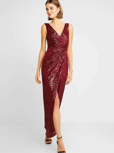 Fashion V neck Paillette Sleeveless Evening Dresses
