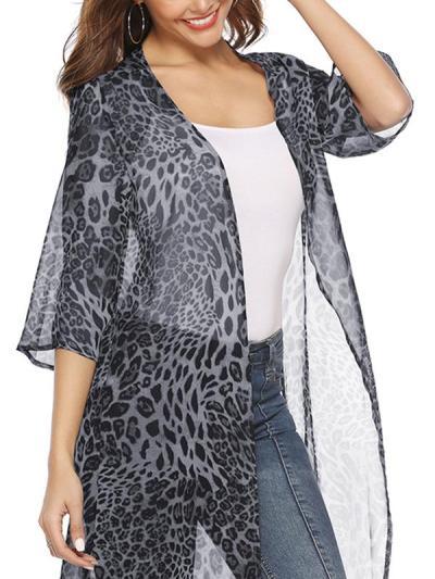 Sexy loose leopard print long chiffon cardigan