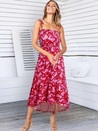 Fashion Drape Loose Print Vest Skater Dresses