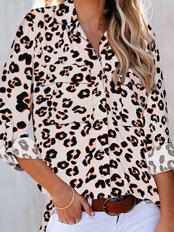 Fashion Print Lapel Three quarter sleeve Blouses