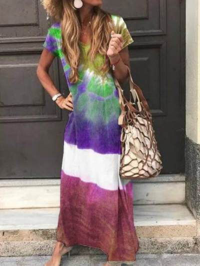 Fashion printed women v neck long maxi dresses