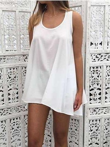 Summer Pure Sleeveless Shift Dresses