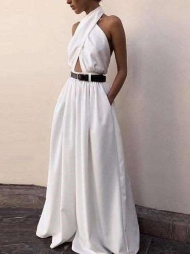 Fashion Sexy Loose Pure Halter Backless Jumpsuits