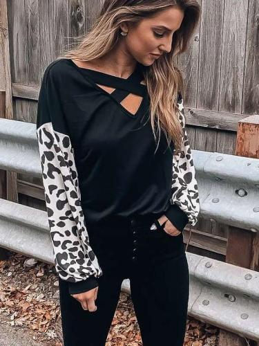 Fashion Casual V neck Long sleeve Gored Print T-Shirts