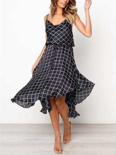 Lace check sexy strappy maxi dress