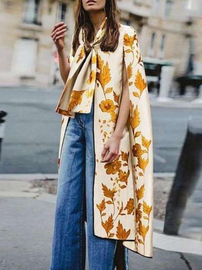 Fashion Loose Print Sleeveless Cappa