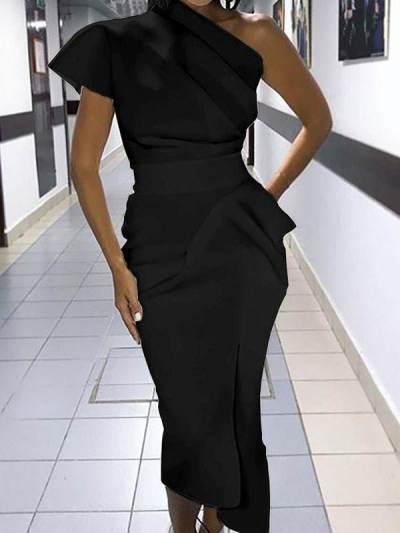 Sexy one off shoulder women plain bodycon dresses