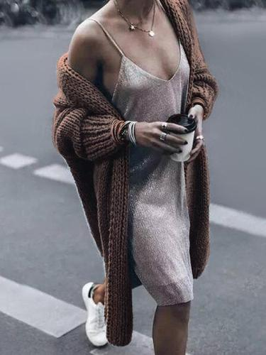 Women loose knit long cardigans coats