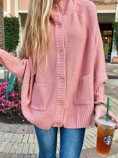 Semi-turtleneck loose knit sweater bat-sleeve cardigan sweaters