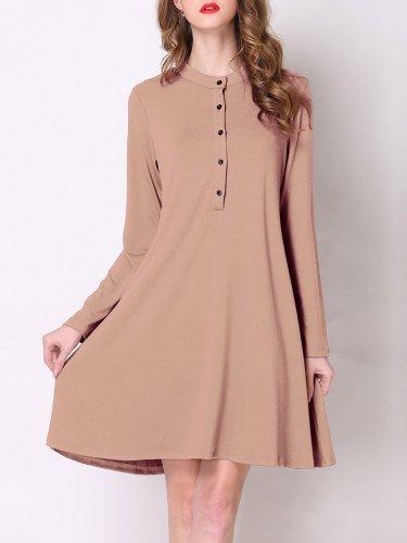 Cotton-blend A-line Casual Long Sleeve Dress