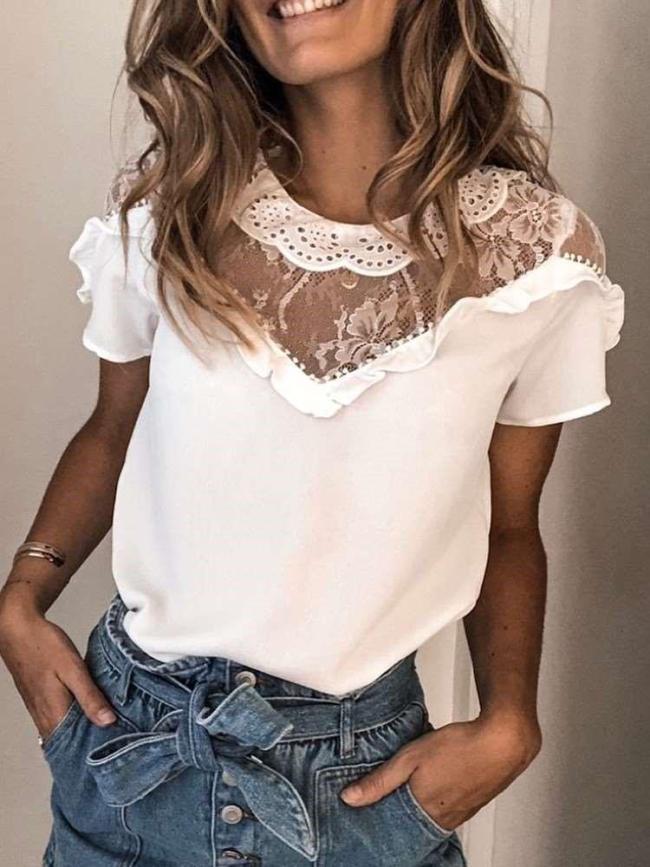 Fashion Pure Lace Round neck Falbala Short sleeve T-Shirts